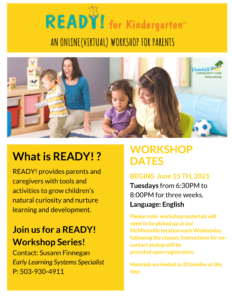 A workshop for parents to learn about Kindergarten readiness for their children.